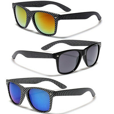 Carbon Fiber Style Frame Men Women Sunglasses Retro 80s Fashion Glasses