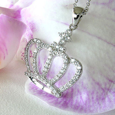 KLEO Crown Pendant Necklace * Signity CZ 925 Sterling Silver Adj Chain 16 to 18