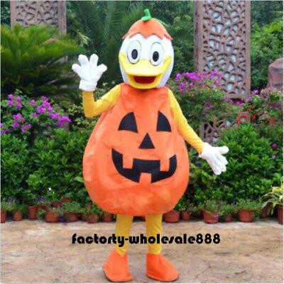 2019 Hot Pumpkin Donald Mascot Costume Cosplay Halloween Party Fancy Dress Adult](Pumpkin Mascot Costume)