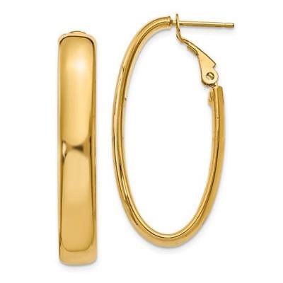 14k Yellow Gold High Polished Flat Tube Italian 7.75x14mm Oval Hoop Earrings