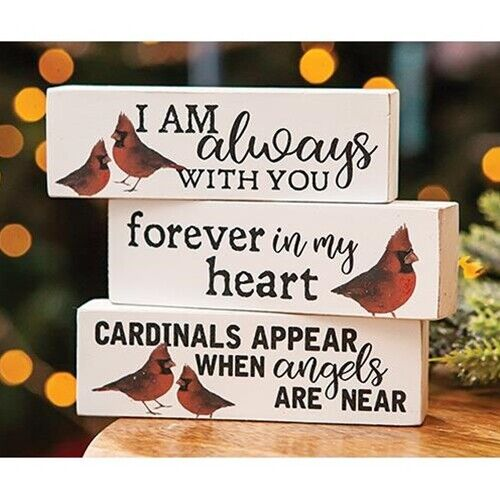 Set of 3 Always with You Cardinal Wooden Blocks