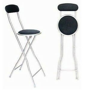 BLACK FOLDING BREAKFAST BAR STOOL KITCHEN OFFICE PADDED HIGH CHAIR