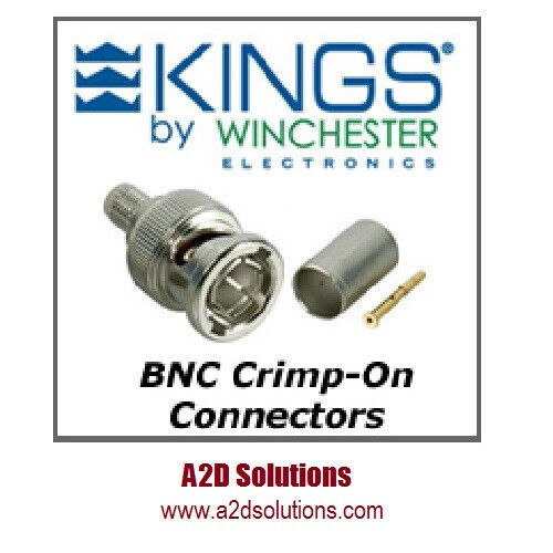 BAG-50 Kings 2065-10-9 BNC Crimp Connectors Belden 1694A, 1695A or Gepco VSD2000