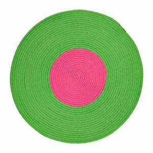 2 IKEA STICKAT Braided Circle Rugs Blue Green Classroom Play Mats Lynwood Canning Area Preview