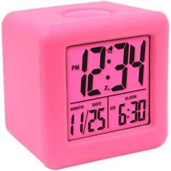 Equity Soft Cube LCD Travel Alarm Clock with Silicone Rubber Case Neon Pink