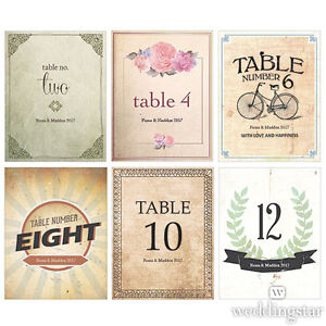 24 Vintage Medley Personalized Wedding Table Numbers Cards Q18740 ... Vintage Table Numbers