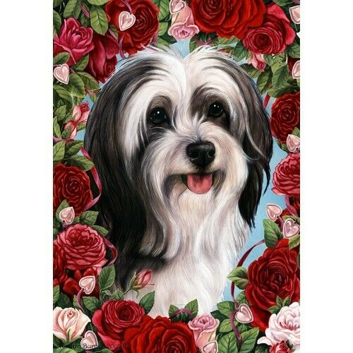 Roses House Flag - Black and White Tibetan Terrier 19478