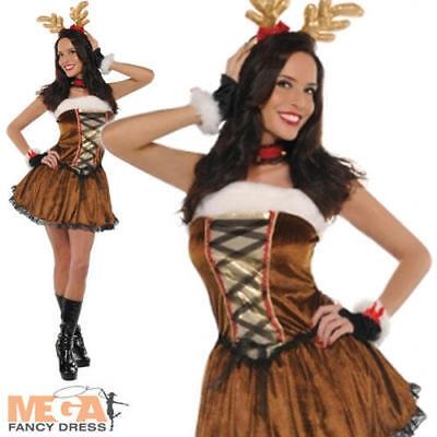 Miss Reindeer Vixen Ladies Fancy Dress Christmas Rudolph Womens Costume Outfit