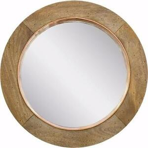 Round Copper and Wood Mirror Unique Rustic Look - MSRP $699 NOW ONLY $120