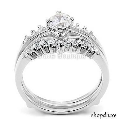 1.50 CT ROUND CUT AAA CZ .925 STERLING SILVER WEDDING RING SET WOMEN'S SIZE 5-10 1