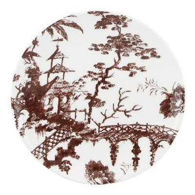 """LENOX ~ Set of 4 ~ Scalamandre Toile Tale 9""""  Accent Plate  CHOCOLATE Brown  NIB"""