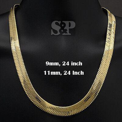 Hip Hop Bling Rapper's Herringbone 14K Gold Plated 9mm, 11mm 24