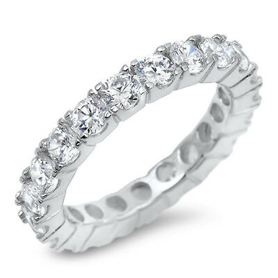 - Round White CZ Eternity Wedding Band Ring .925 Sterling Silver Sizes 5-10 NEW