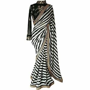 Designer: Black & White Stripe Saree