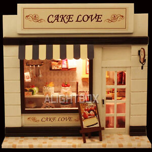 Handmade Wooden Dollhouse Dolls House DIY European Miniature Shop