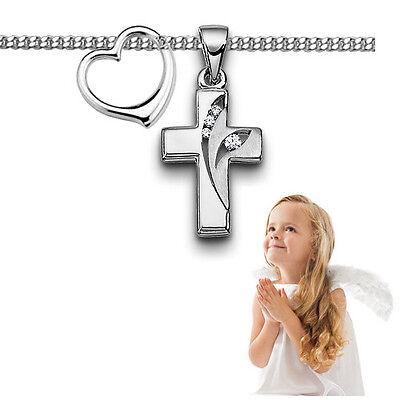 Kinder Zirkonia Kreuz mit Herz Anhänger zur Taufe Kommunion mit Kette Silber 925