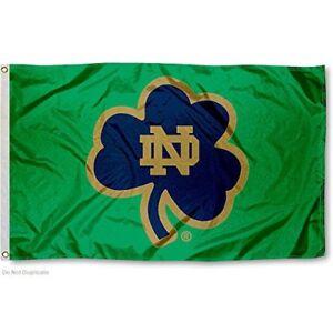 NOTRE DAME FIGHTING IRISH SHAMROCK 3'X5' FLAG: FREE SHIPPING