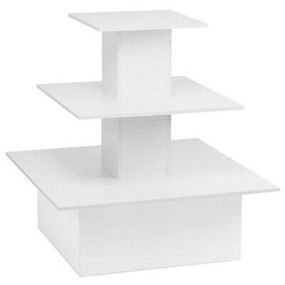 Square 3 Tier Table White
