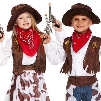 Cowboy Kids Fancy Dress Wild Western Cowgirl Childs Boys Girls Book Day Costumes (Cowboy Costumes For Girls)