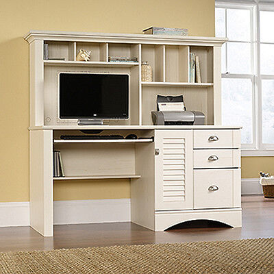 Computer Desk With Hutch - Antiqued White - Harbor View Collection (158034)