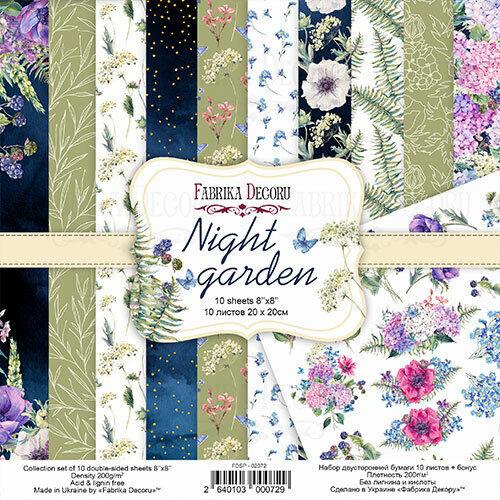 8%22+x+8%22+scrapbooking+paperpad+cardstock+Night+Garden+10+designs+x+2+sheets