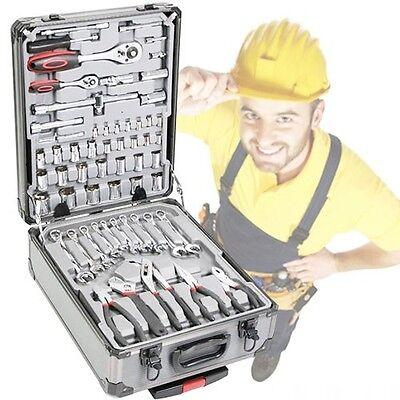 186pc Tool Kit Toolkit Set Screwdriver Socket Ratchet Aluminium Trolley Case£399