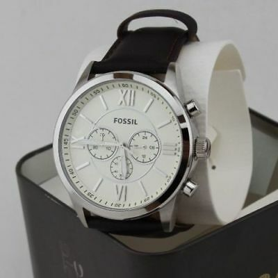 NEW AUTHENTIC FOSSIL FLYNN CHRONOGRAPH SILVER CREAM BROWN MEN'S BQ1129 WATCH