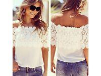 Off Shoulder Casual Lace Crochet Top
