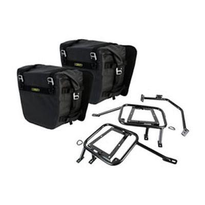 (Suzuki DR650S DR650SE 1996–2019 Tusk Pannier Racks w/ Nelson Rigg Dry Saddlebags)