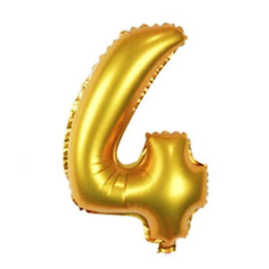 16 inch gold arabic foil balloons wedding birthday party for Number 4 decorations