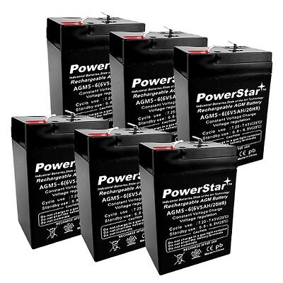 PowerStar 6 Pack - 6V 5Ah SLA Battery for Emergency Exit Lig