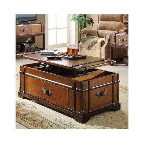 Coffee Table With Leather Top: Leather Top Coffee Table