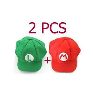 2pcs Super Mario Bros Hat Mario Luigi Cap Cosplay Red Green WS