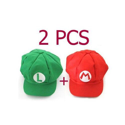 2pcs Super Mario Bros Hat Mario Luigi Cap Cosplay Red Green WS