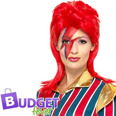 David Bowie Ziggy Stardust Costume (Ziggy Stardust Wig Fancy Dress David Bowie 80s Celebrity Adult Costume)