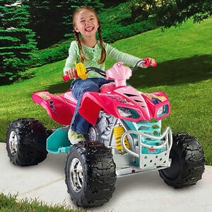 girls atv 4 wheeler barbie ride on battery powered quad 12 volt electric toy kid. Black Bedroom Furniture Sets. Home Design Ideas