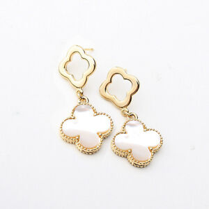 White Mother of Pearl four leaf clover with open clover-shaped earrings -4- GG