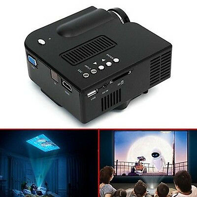 Mini 1080P HD Multimedia LED Projector Home Cinema Theater AV TV VGA HDMI USB US