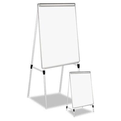 "Universal Adjustable Dry Erase Easel, 29 x 41"" White Board, Silver Frame"