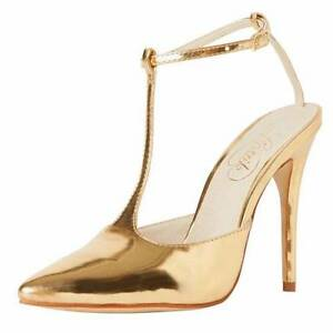 Lipstik Finlay gold t bar heel size 7 West Footscray Maribyrnong Area Preview