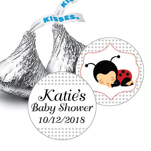 108 Ladybug Baby Shower Personalized Hershey Kiss Stickers Party Favors