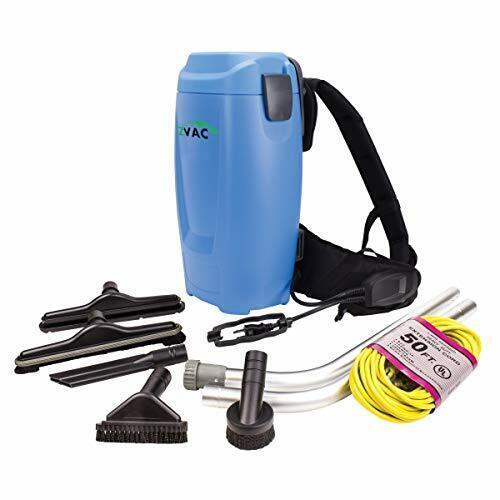 ZVac Backpack Vacuum Cleaner Commercial Grade ZBV-2 1.5 Gal. HEPA Filtration ...