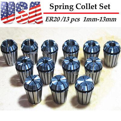 Er20 Precision Spring Collet Set 13 Pcs Cnc Milling Lathe Tool Workholding Us