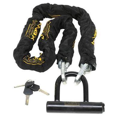 "DEFENDER Motorcycle Moped Bike 46"" HARDENED STEEL 10mm Chain & Mini U Lock"