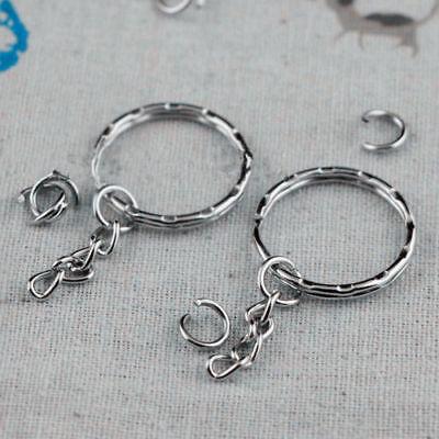 100pcs Keyring Blanks 55mm Silver Tone Key chains Key Split Rings 4 Link Chain