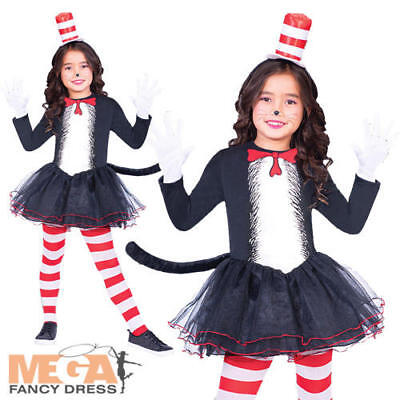 Cat In The Hat Costume For Girls (The Cat in the Hat Girls Tutu Fancy Dress Dr Seuss World Book Day Kids Costume)