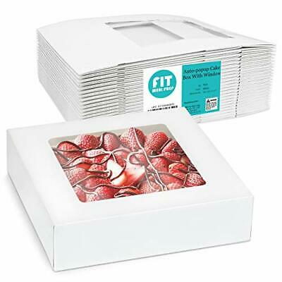 25 Pack Bakery Pie Box With Window 10x10x2.5 - White Cardboard Packaging For