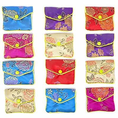 12 Pieces Jewelry Silk Purse Pouch Chinese Embroidered Brocade Zipper Gift Pack