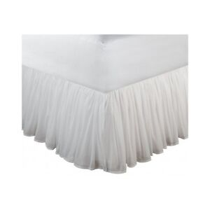 bed skirt queen white extra long 18 inch drop dust ruffle bedskirt bedding solid. Black Bedroom Furniture Sets. Home Design Ideas