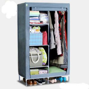Clothes-Garment-Storage-Portable-Wardrobe-Organizer-Closet-Rack-Silver-Armoires